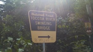 Sign for the Swinging Bridge to the South