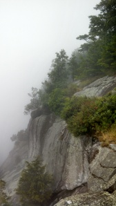Trees clinging to the side of Yonah's steep rocky face