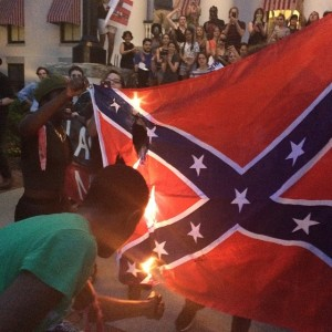 Students burning a confederate battle flag in Florida