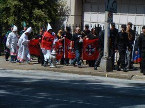 A sad looking group of KKK and NSM members on their way to the Georgia state capitol on 2013