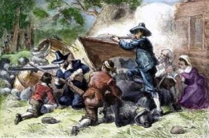 Black and white settlers in Virginia fighting in Bacon's Rebellion