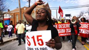 Fast food workers and community supporters demonstrating for a living wage and the right to union representation (Atlanta, 2015)