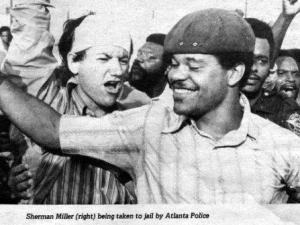 Mead wildcar strike leader Sherman Miller and supporters (Atlanta, 1973)