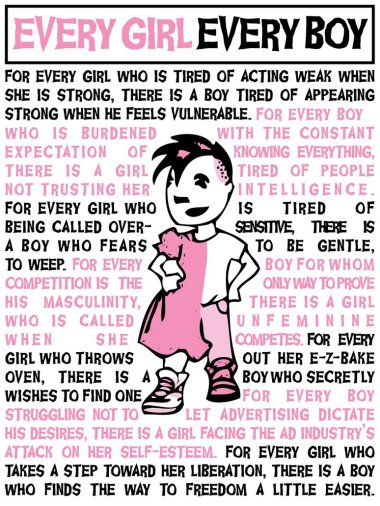 Gender roles aren't what they once were. In 2015, gender equity doesn't just mean women should make as much as men, but that feminine attributes shouldn't be viewed as weak and - yes, God forbid - a little boy can wear a pink dress and still be tough as nails!